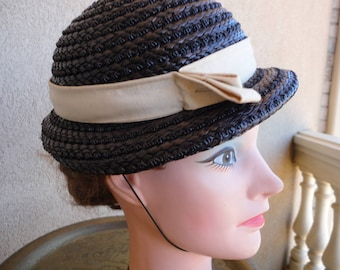 Black Straw Hat With Beige Grosgrain Ribbon