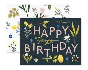 Plant Variety Birthday Card - Navy