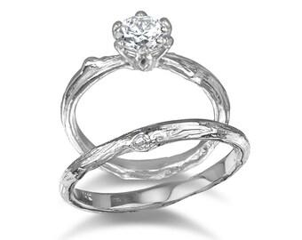 Forever One Moissanite bridal set twig engagement wedding band prong flower ring