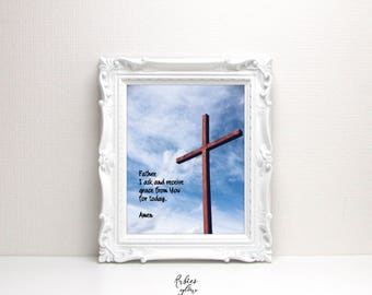 Grace Prayer for today - Christian Prayer - Bible Christian quote - The Cross - Bible verse wall decor - Instant download - Digital Art-