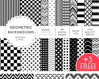 80% Until New Year - 50 Percent OFF SALE · Black and white digital paper /3 FREE/ polka dots, chevrons scrapbook paper, checkered background