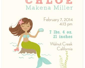 Custom Mermaid Birth Announcement Print - nursery art for children