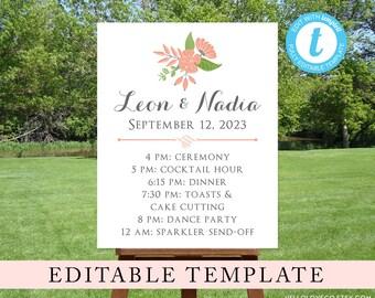 EDITABLE Wedding Schedule Sign Template, Custom Wedding Itinerary, Order of Events, Floral Hawaiian Beach Wedding, Templett Digital File