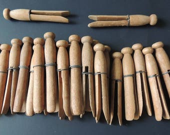 Vintage Wooden Clothes Pins---Mixed Media---Craft Supply
