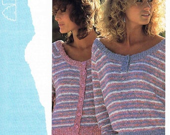 PDF - Lady's Striped Cardigan and Sweater Pullover Jumper - Size 76 to 102 cm (30 to 40 inch) - Patons 7443 - Vintage Knitting Pattern