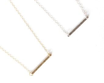 Hammered Bar Necklace Sterling Silver Necklace Horizontal Bar Necklace Hypoallergenic Necklace Thin Bar Necklace Layering Necklace
