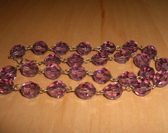 Reserved Please Do Not Buy Antique Art Deco Rolled Gold Necklace Measuring 16 & 1/2 inches with Beautiful 10mm Faceted Amethyst Glass Beads