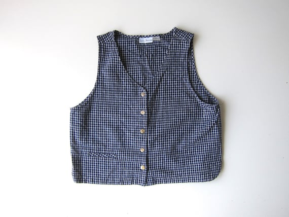 90s Blue White Checkered Vest Top Linen Cotton Boxy Tank Top Button Up Tank Preppy Minimal Vest Top Vintage Large