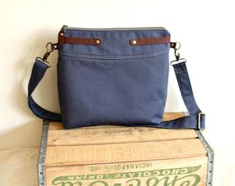 Crossbody Purse, handbag, messenger, canvas purse, leather trim, everyday bag-- Ready to Ship