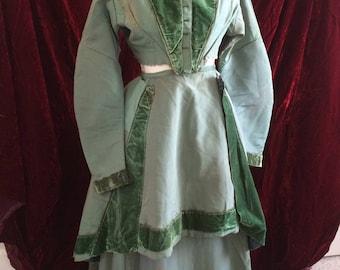1860 Incredible Antique Vintage 3 Piece Day Dress Gown Ensemble Civil War Victorian