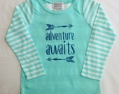 Adventure Awaits Girls Mint Striped Shirt with Appliqu�...