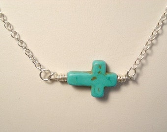 Sideways Turquoise Cross Necklace Cross Necklace, Sideways Cross Statement Necklace Pendant Jewelry