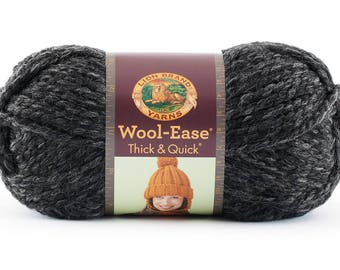 Chunky Charcoal Grey DeStash Yarn - Lion Brand Wool Ease Thick & Quick, Super Bulky Wool Blend Yarn, Charcoal Grey