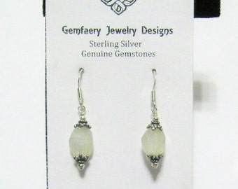 Sterling Silver Victorian-Style Natural Rainbow Moonstone Gemstone Dangle Earrings...Handmade USA
