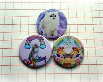 Pastel goth cats - pinback button or magnet 1.5 Inch