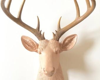PEACHY TAN w/Natural-Looking Antlers XL Faux Taxidermy Deer Head Wall Mount / Stag Wall Hanging / Woodland decor / deer wall art / kids room