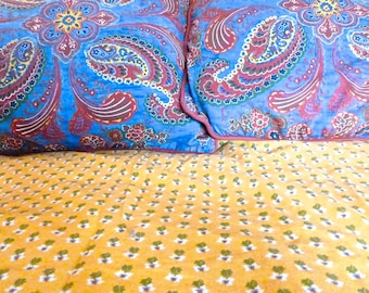 Large Duvet Cover, Exotic Paisley Duvet Design, Reversable Red Blue Yellow Duvet,  3 piece bedding set, Heavy Cotton Twill