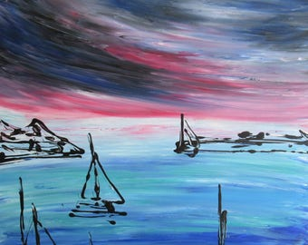Abstract painting, Ocean, modern art, abstract painting
