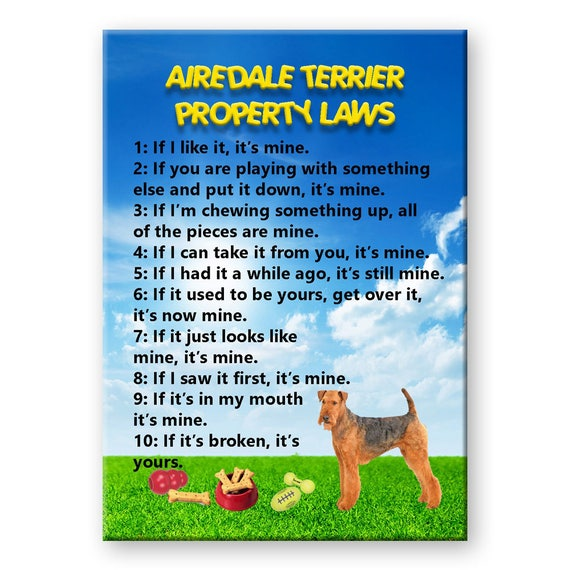 Airedale Terrier Property Laws Fridge Magnet