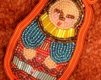 Red soutache and beadwork matryoshka