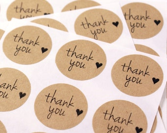 63 THANK YOU labels with hearts - Kraft brown or white thank you stickers - 1 inch round labels - envelope seals, favor stickers, weddings