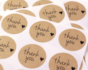 63 THANK YOU stickers with mini heart kraft brown labels - 1 inch round Kraft stickers - envelope seals, gift wrapping, packaging