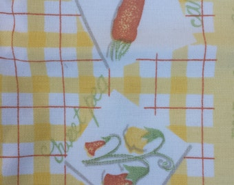 Placemats Pair of retro table placemats bright and cheery orange yellow country cottage veggies flower and fruit design