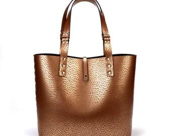 Copper Ostrich Tote Bag | Copper Tote | Vegan Tote Bag | Made in USA