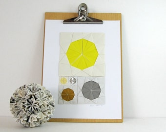 Origami Sketch No6 Yellow - Original Paper Collage - Modern Home Decor Grey Modern Art Geometric Circles Paper Anniversary - Minimalist Art