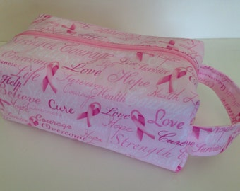 SALE, Toiletry Bag Women, Toiletry Bag - Breast Cancer Awareness