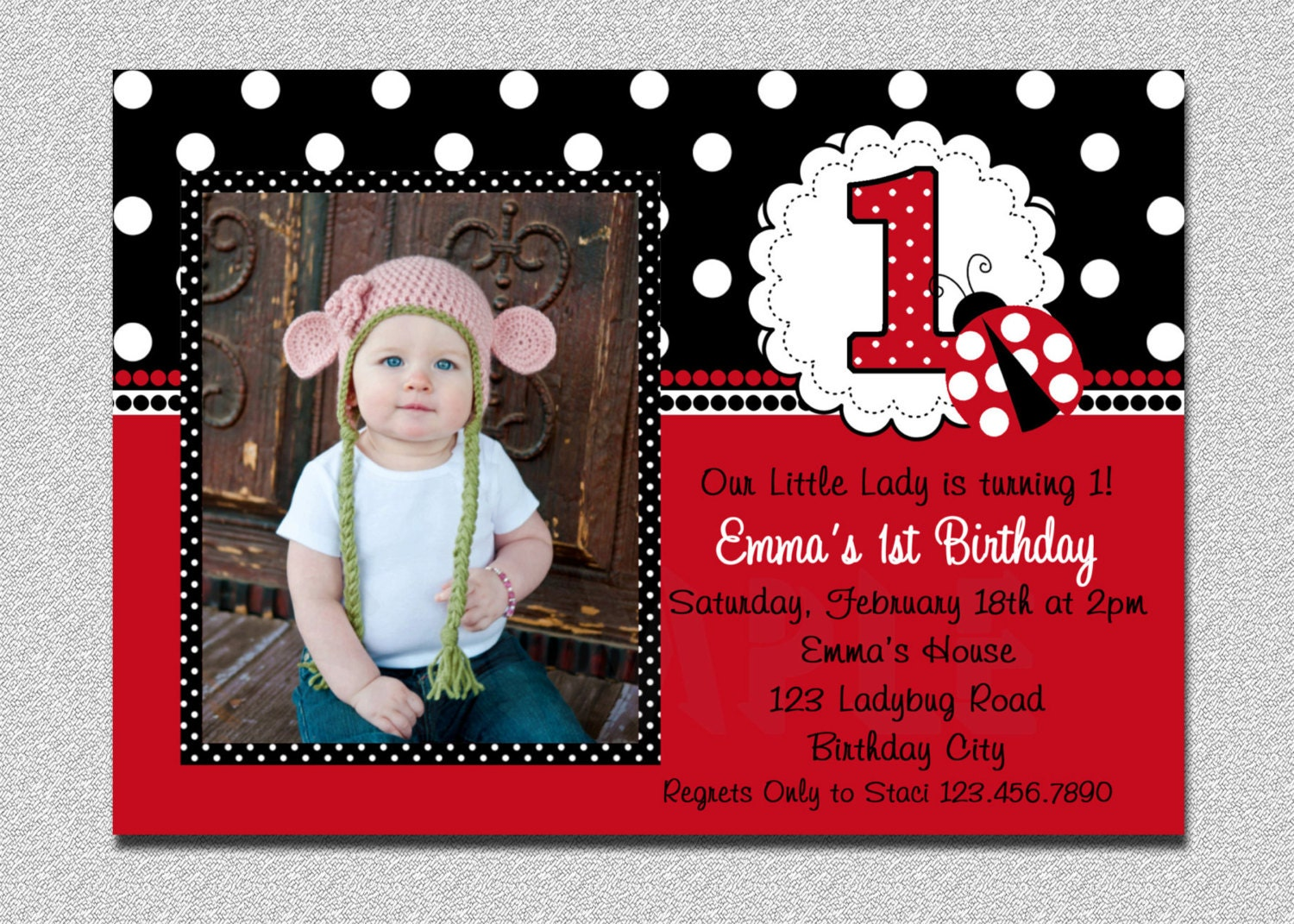 Ladybug Birthday Invitation Ladybug 1st Birthday Party Red