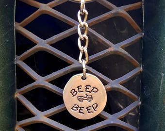 Beep Beep hand-crafted Keychain with JEEP stamp made on St. John