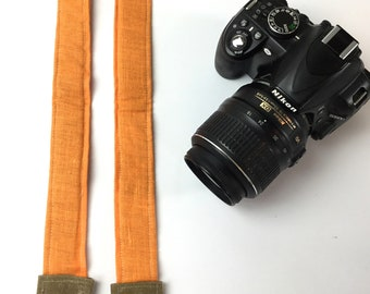 Camera Strap in Orange Linen,  neoprene padded for comfort, Darby Mack / dslr gear /  photography equipment / Wax Canvas