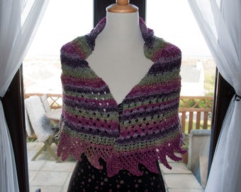 Handknitted Shawl/Shawlette in Glittery/Sparkly Shades of Purple and Green