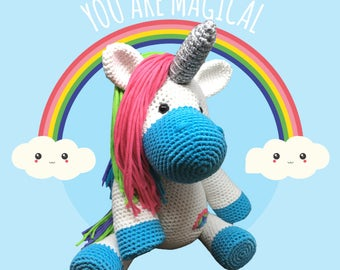 Sugar Rainbow the Unicorn - Crochet Amigurumi Digital Downloadable Pattern