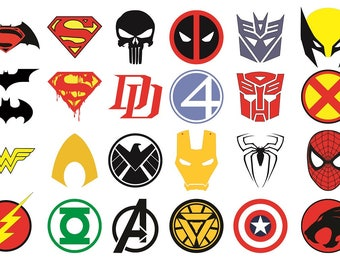 Superhero Logos Vector, Superhero SVG, Superhero Clipart, Silhouette Cricut Cut Files, Comic svg, SVG, AI, Dxf, Eps