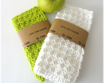 Set of 2, Cotton Face Cloth, Cotton Washcloth, Crochet Wash Cloth, Crochet Face Cloth, Cotton Washcloth, White Wash Cloth, Green Washcloth