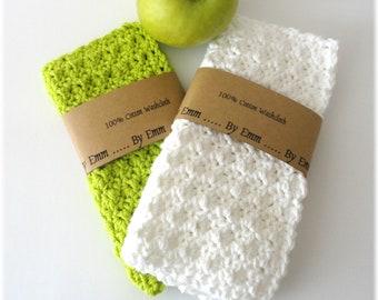 Set of 2, Cotton Face Cloth, Cotton Washcloth, Crochet Wash Cloth, Crochet Face Cloth, Cotton Washcloth, White Wash Cloth, Green Washcloth