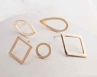 14K Gold Filled Earring Components, Square, Diamond, Circle, Teardrop, Marquise Earring Component,  Gold Large Earrings, GFER116