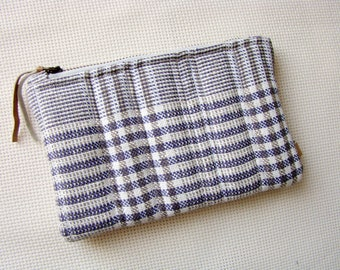 Zipper pouch, quilted pouch, quilted zipper pouch, recycled, upcycled, unique pouch, cosmetic bag, zip pouch, checked fabric pouch