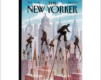 """Vintage The New Yorker Magazine Cover Poster Print Art, 1994 Matted to 11"""" x 14"""", Item 4028, Life at the Top"""