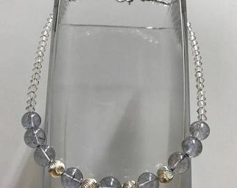 Blue Grey Aura Quartz Gemstone - Spiral Orb -Swarovski Crystal - 925 sterling silver necklace