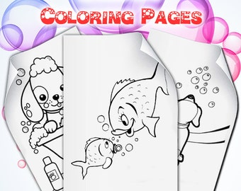 Bubble Party Coloring Pages, Bubble Birthday Activity