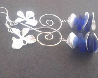 Cascade of exotic flowers - series: 2 pairs of earrings in 1