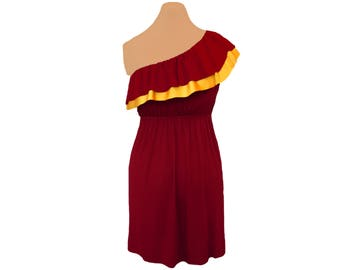 Deep Red + Yellow One-Shoulder Dress
