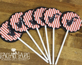 READY TO SHIP Mary Poppins  Cupcake Toppers