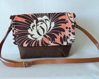 Messenger Bag - 'Brown Flower'