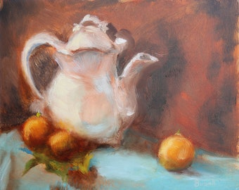 Orange Tea: Original Oil painting on panel