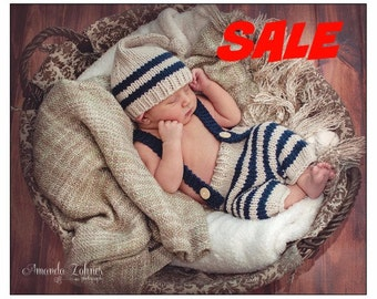 HUGE SaLE Today ONLY......Pixie Hat and Pants, Suspenders, Elf Hat, ,Newborn Photo Prop, Baby Outfit, Baby Photo Prop. Baby Boy Outfit,