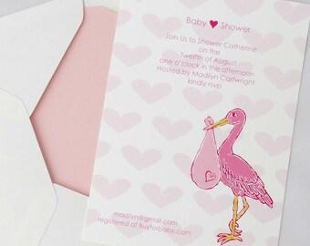 Digital, Printable, Stork, Baby Girl, Shower Invitation